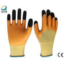 13G Polyester Liner Latex 3/4 beschichtete Finger verstärkte Arbeitshandschuh