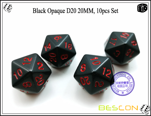 Black Opaque D20 20MM, 10pcs Set-3
