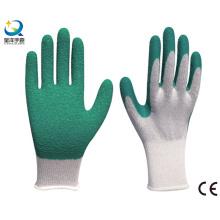 Guante de trabajo recubierto de palma de algodón con látex de 10g