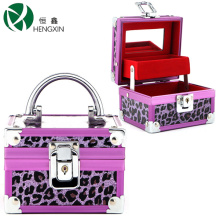 Leopard Makeup Case with Mirror and One Tray