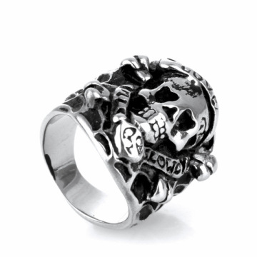 Fshion retro Spider web knight skull ring
