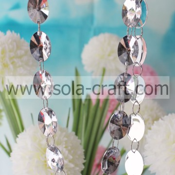 Acrílico Crystal Oval Faceted Bead Curtain Hanging Wedding Tree