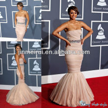 Free Shipping Romantic Mermaid Strapless Beaded Ruffle Organza Dreaming Celebrity Dress JSD007