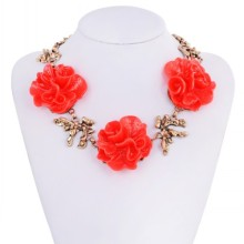 Big Red Flower Shape Resin Zinc Alloy Choker Necklaces