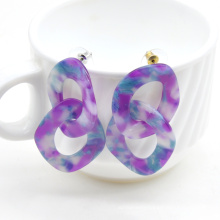 2021 Colorful chunky funk hip hop  two circle link chain women cellulose acetate earrings