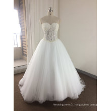Trendy Elegant See Through Sparkling Pearls/Rhinestone Wedding Dress