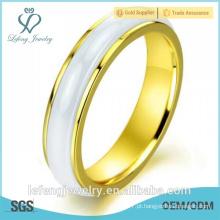 Melhor qualidade personalidade coreana lisa rotativa, anel de casamento de cerâmica ouro rosa para as mulheres