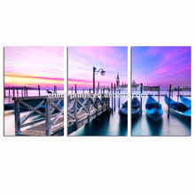 Arte de la pared de la lona de Venecia / impresión de la lona del paisaje de la puesta del sol / arte grande de la pared del paisaje urbano