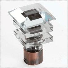 Polished 16/19/22/25/28/30 mm finitions en verre de cristal pour barres de rideaux