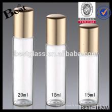 Bouteilles de parfum de verre de boule de petit pain de 2ml inoxydable, bouteilles de parfum de verre spéciales de 18ml