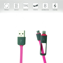 Rubber braided USB charger cable 2 in 1