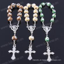 Atacado Madeira Beads Cruz Bracelet Pulseira Pulseira Religiosa Pulseira