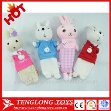 Custom print plush bunny pencil bags for kids
