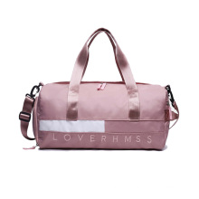 Fashionable ladies spend the night duffle bag waterproof polyester travel gym bag OEM pink duffel bag for girls