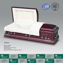 Oversize estilo americano sólido madera ataúd ataúd para la cremación funeraria