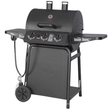 Multi-Function 3 Burner Gas BBQ Smoker with Chimney
