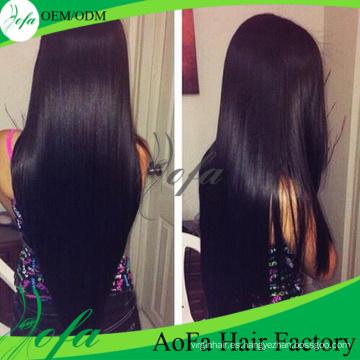 Extensión del cabello humano sin procesar del grado recto de la Virgen del grado 7A el 100%