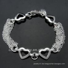 Heißes Verkaufsart und weise 925 silbernes Armband mit Herzanhänger für Frauen BSS-008
