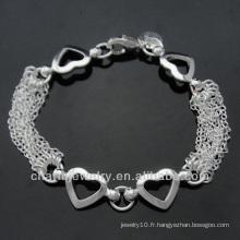 Bracelet en argent sterling 925 avec pendentif coeur pour femme BSS-008