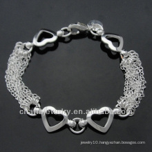 Hot sale Fashion 925 Silver bracelet with heart pendant for women BSS-008