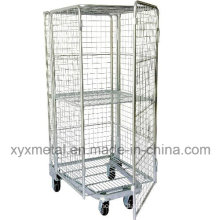 Four Sided Security Rolling Mobile Cage, Folding Roll Container
