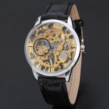 wholesale skeleton design watch for men with genuine leather band