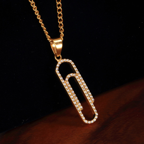 Jewelry Simple Necklace Designs Paper Clip Shape Necklace