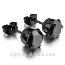 Black CZ Boucles d'oreilles en acier inoxydable Royal King Crown Perles rondes