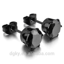 Black CZ Aço Inoxidável Stud Earrings Royal King Crown Aro Redonda Ear Studs