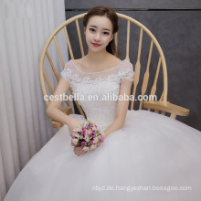 Puffy weiße kurze Hülse süße Prinzessin Cristal, die Abschlussball-Ballkleid-Hochzeits-Ballkleid-Kleid-Hochzeits-Kleid-Ballkleid bördelt