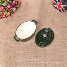 mini oval cast iron cookware in green colour