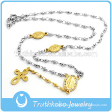Two Tone Fashion Stainless Steel Bead Blessed Mary Religious Cross Charm Necklace with vacuum plating gold