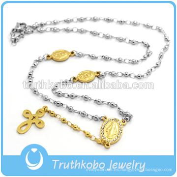 Collar de plata de dos tonos con cuentas de acero inoxidable Blessed Mary Religious con colgante al vacío de oro