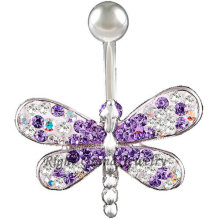 14G Multi anillo en el ombligo libélula de cristal