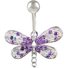 14G Multi Kristall Libelle Bauchnabel Ring
