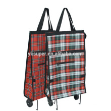 Black Shopping Cart Wholesale Travel Bag On Wheels Reusable Shopping Bags With Steel Tube
