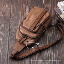 Men′s High Quality Capacity Leather Chest Bag Business Sling Bag Shoulder Bag Waist Bag