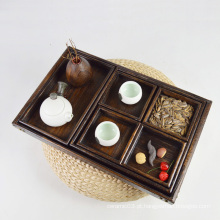 Bandeja de servir de madeira retangular rústica barato direto da fábrica definido para alimentos e chá