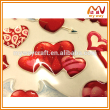 Non-toxic fashion custom epoxy resin sticker with heart shape and shinning