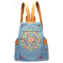Fashion PU Trim Denim Fabric Ladies Backpack (ZX0008)