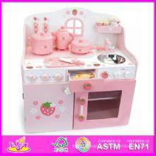 2014 nouvelle cuisine en bois mis en jouet pour enfants, belle cuisine en bois rose pour enfants, vente chaude jeu de rôle jouet cuisine set W10c079