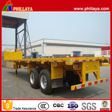 Double Axle Container Transport Semi Flatbed Trailer