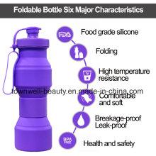 4 Capacidades em 1 garrafa de garrafa de água dobrável de silicone com diferentes cores