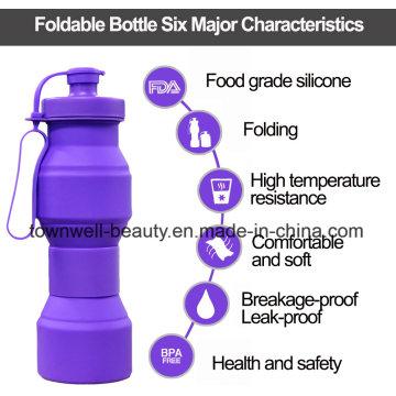 4 Capacidades en 1 botella de silicona botella de agua plegable con diferentes colores