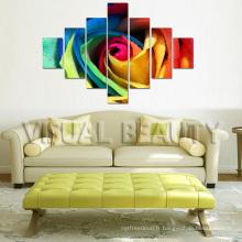 Peinture en toile de groupe multi-panneaux de fleurs colorées modernes