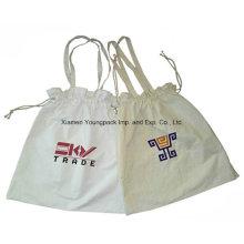 Promocional personalizado reutilizáveis 8 oz drawstring algodão sacola