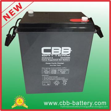 Batterie rechargeable en cycle profond 6V310ah Batterie à l'acide à base de plomb scellée, batterie 6V SLA VRLA