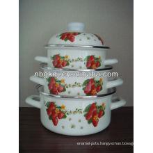 custom enamel strait pot with enamel lids