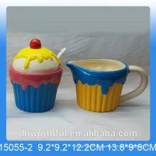 Popular azucarero de cerámica y jarra de leche en forma de helado
