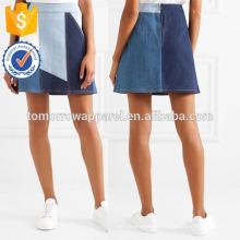 Nova Moda Azul Patchwork Denim Mini Saia DEM / DOM Fabricação Atacado Moda Feminina Vestuário (TA5165S)